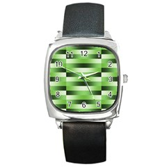 Pinstripes Green Shapes Shades Square Metal Watch