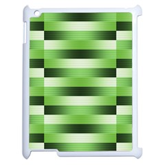 Pinstripes Green Shapes Shades Apple Ipad 2 Case (white) by Nexatart