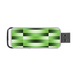 Pinstripes Green Shapes Shades Portable Usb Flash (two Sides) by Nexatart