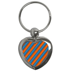 Diagonal Stripes Striped Lines Key Chains (heart)  by Nexatart