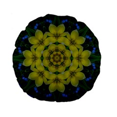 Fantasy Plumeria Decorative Real And Mandala Standard 15  Premium Flano Round Cushions by pepitasart