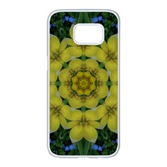 Fantasy Plumeria Decorative Real And Mandala Samsung Galaxy S7 Edge White Seamless Case by pepitasart