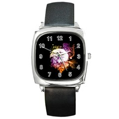 Awesome Eagle With Flowers Square Metal Watch by FantasyWorld7