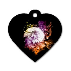 Awesome Eagle With Flowers Dog Tag Heart (one Side) by FantasyWorld7
