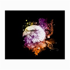 Awesome Eagle With Flowers Small Glasses Cloth (2 Side) by FantasyWorld7