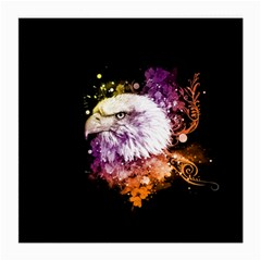Awesome Eagle With Flowers Medium Glasses Cloth (2 Side) by FantasyWorld7
