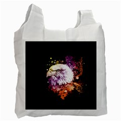Awesome Eagle With Flowers Recycle Bag (one Side) by FantasyWorld7