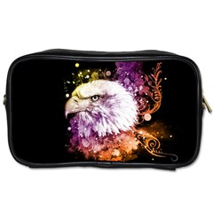 Awesome Eagle With Flowers Toiletries Bags 2 Side by FantasyWorld7