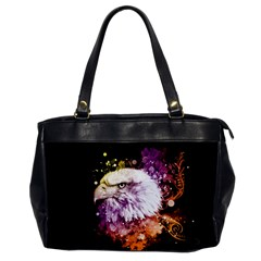 Awesome Eagle With Flowers Office Handbags by FantasyWorld7