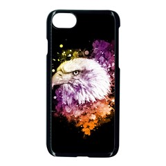 Awesome Eagle With Flowers Apple Iphone 7 Seamless Case (black) by FantasyWorld7
