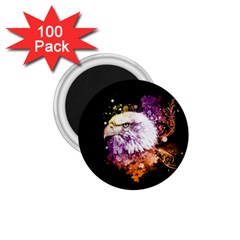 Awesome Eagle With Flowers 1 75  Magnets (100 Pack)  by FantasyWorld7