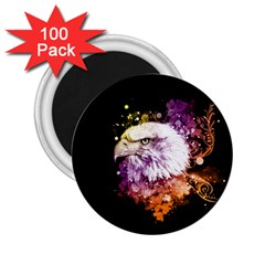 Awesome Eagle With Flowers 2 25  Magnets (100 Pack)  by FantasyWorld7