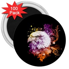 Awesome Eagle With Flowers 3  Magnets (100 Pack) by FantasyWorld7