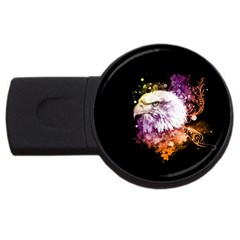 Awesome Eagle With Flowers Usb Flash Drive Round (2 Gb) by FantasyWorld7