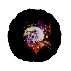 Awesome Eagle With Flowers Standard 15  Premium Flano Round Cushions by FantasyWorld7