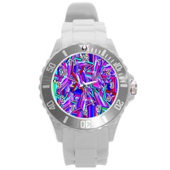 Stars Beveled 3d Abstract Stripes Round Plastic Sport Watch (l) by Nexatart