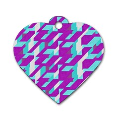 Fabric Textile Texture Purple Aqua Dog Tag Heart (one Side) by Nexatart