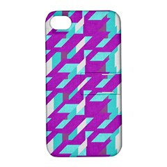 Fabric Textile Texture Purple Aqua Apple Iphone 4/4s Hardshell Case With Stand