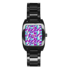 Fabric Textile Texture Purple Aqua Stainless Steel Barrel Watch by Nexatart