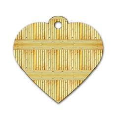Wood Texture Grain Light Oak Dog Tag Heart (one Side)