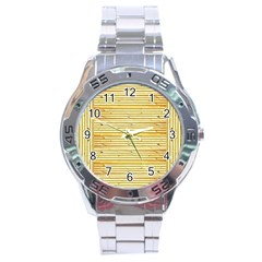 Wood Texture Background Light Stainless Steel Analogue Watch