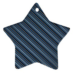 Diagonal Stripes Pinstripes Star Ornament (two Sides) by Nexatart