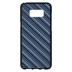 Diagonal Stripes Pinstripes Samsung Galaxy S8 Plus Black Seamless Case by Nexatart