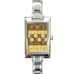 Wood Texture Grain Weave Dark Rectangle Italian Charm Watch