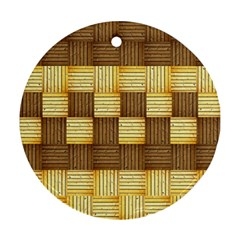 Wood Texture Grain Weave Dark Round Ornament (two Sides)