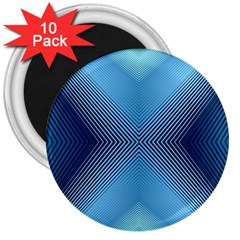 Converging Lines Blue Shades Glow 3  Magnets (10 Pack)  by Nexatart