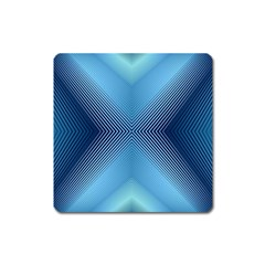 Converging Lines Blue Shades Glow Square Magnet