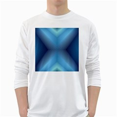 Converging Lines Blue Shades Glow White Long Sleeve T Shirts