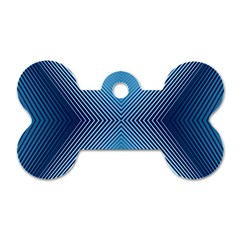 Converging Lines Blue Shades Glow Dog Tag Bone (one Side)