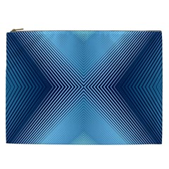 Converging Lines Blue Shades Glow Cosmetic Bag (xxl)  by Nexatart