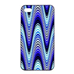 Waves Wavy Blue Pale Cobalt Navy Apple Iphone 4/4s Seamless Case (black)