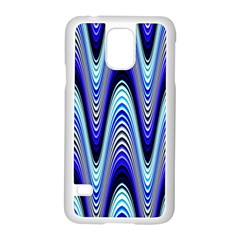 Waves Wavy Blue Pale Cobalt Navy Samsung Galaxy S5 Case (white)