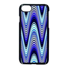 Waves Wavy Blue Pale Cobalt Navy Apple Iphone 8 Seamless Case (black)
