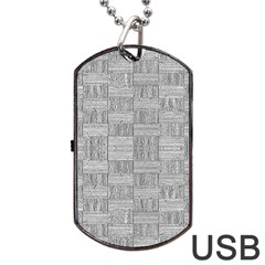 Texture Wood Grain Grey Gray Dog Tag Usb Flash (two Sides)