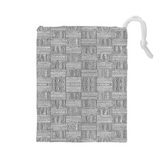 Texture Wood Grain Grey Gray Drawstring Pouches (large)  by Nexatart