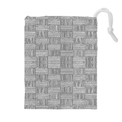 Texture Wood Grain Grey Gray Drawstring Pouches (extra Large)