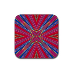Burst Radiate Glow Vivid Colorful Rubber Coaster (square)