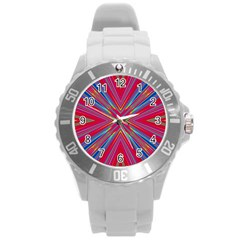 Burst Radiate Glow Vivid Colorful Round Plastic Sport Watch (l)