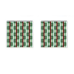 Fabric Textile Texture Green White Cufflinks (square)