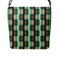 Fabric Textile Texture Green White Flap Messenger Bag (l)