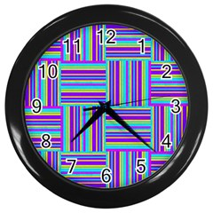 Geometric Textile Texture Surface Wall Clocks (black) by Nexatart