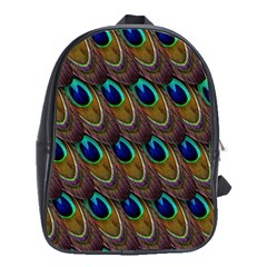 Peacock Feathers Bird Plumage School Bag (large) by Nexatart