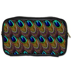 Peacock Feathers Bird Plumage Toiletries Bags 2 Side