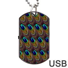 Peacock Feathers Bird Plumage Dog Tag Usb Flash (two Sides)