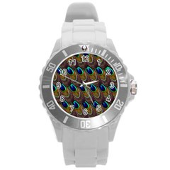 Peacock Feathers Bird Plumage Round Plastic Sport Watch (l)