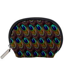 Peacock Feathers Bird Plumage Accessory Pouches (small)  by Nexatart